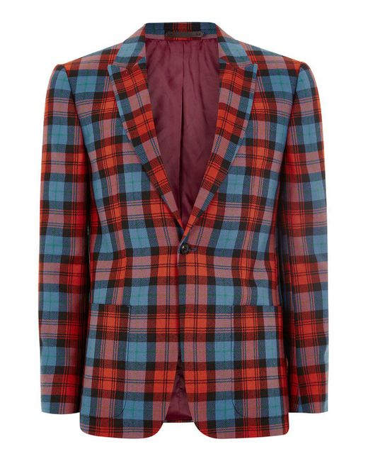 Topman - Locharron X Red And Blue Tartan Skinny Suit Jacket for Men - Lyst