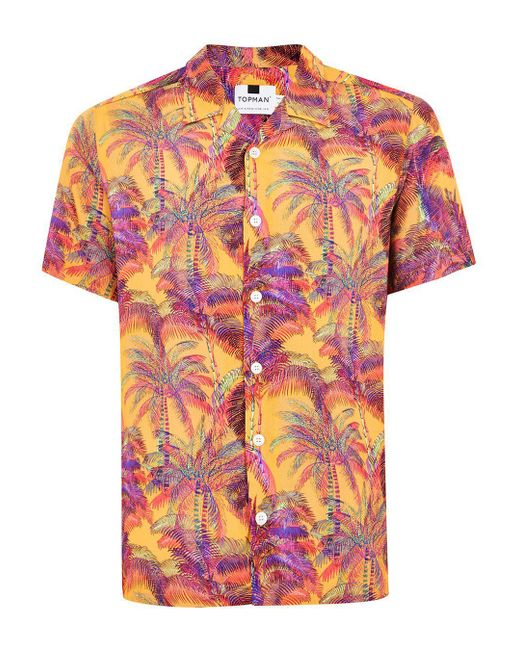 Topman - Orange Palm Tree Short Sleeve Shirt for Men - Lyst