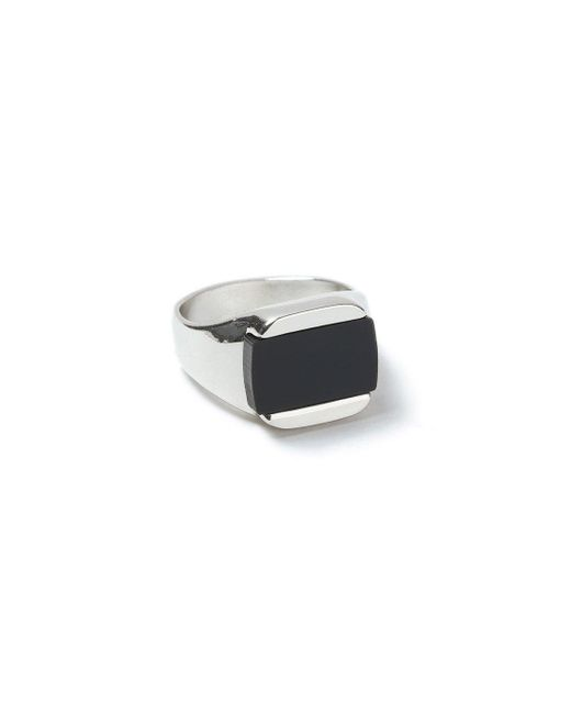 Topman - Black Silver Inlay Ring for Men - Lyst