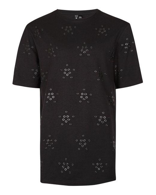 Topman | Aaa Black Eyelet T-shirt for Men | Lyst