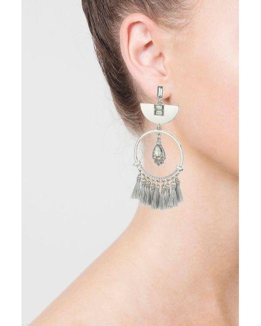 TOPSHOP | Gray Stone And Circle Tassel Drop Earrings | Lyst