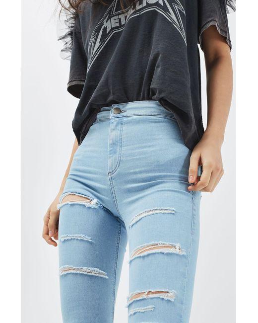 TOPSHOP   Blue Moto Bleach Super Rip Joni Jeans   Lyst