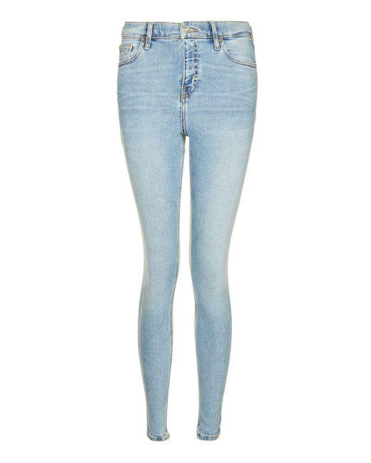 TOPSHOP   Blue Moto Bleach Jamie Jeans   Lyst