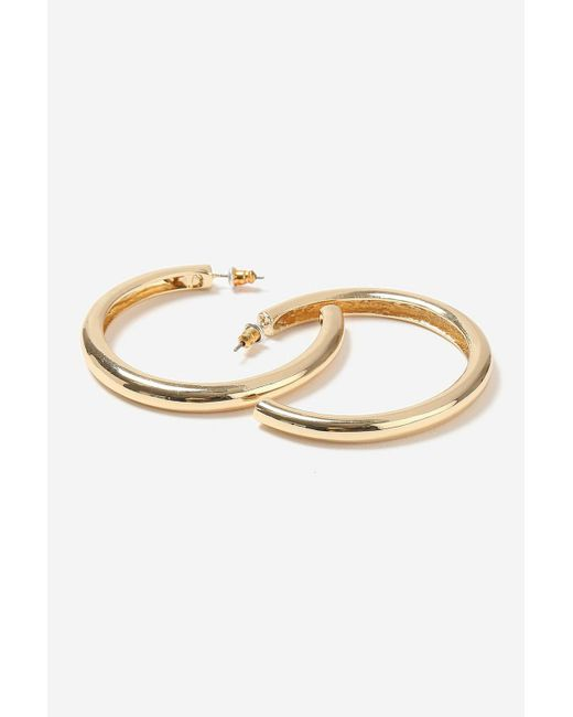 TOPSHOP - Metallic Smooth Thick Hoop Earrings - Lyst