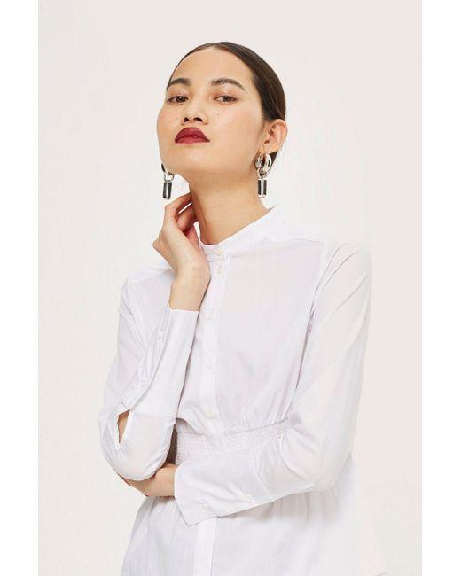 TOPSHOP - White Smocking Detail Shirt - Lyst