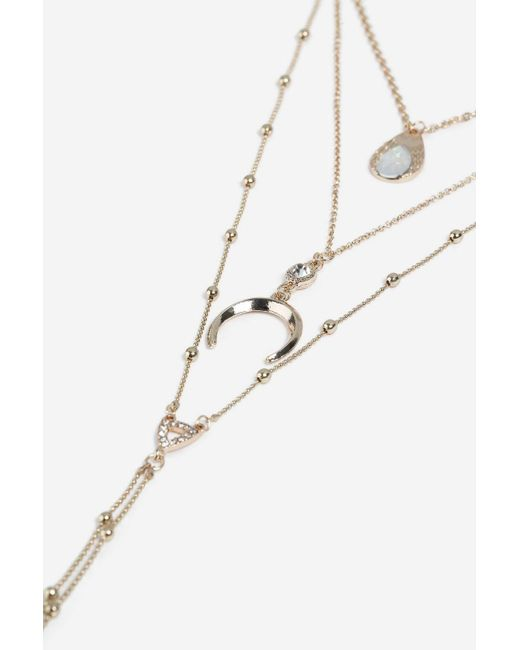TOPSHOP - Metallic Horn Multi Row Necklace - Lyst