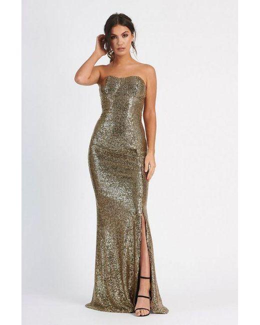 d69931925e5 Club L - Metallic sequin Bandeau Fishtail Maxi Dress By - Lyst ...