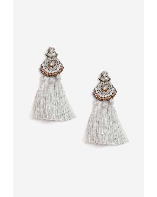 TOPSHOP - Gray Beaded Tassel Drop Earrings - Lyst