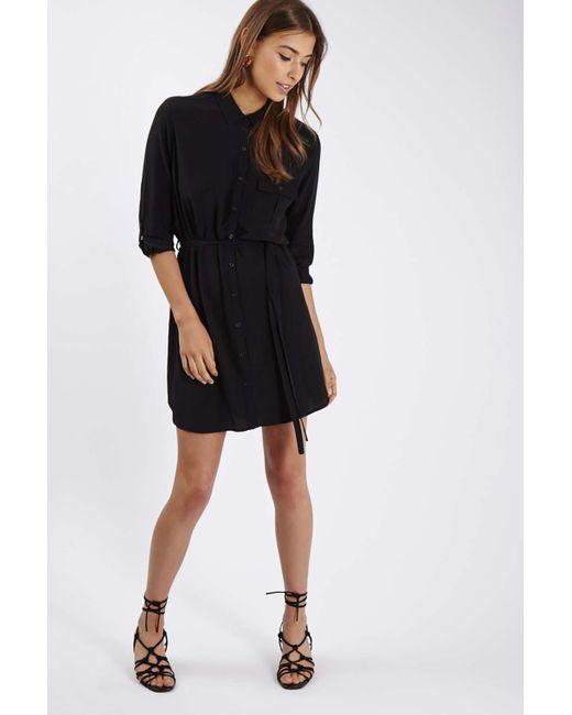 topshop belted shirt dress in multicolor black lyst