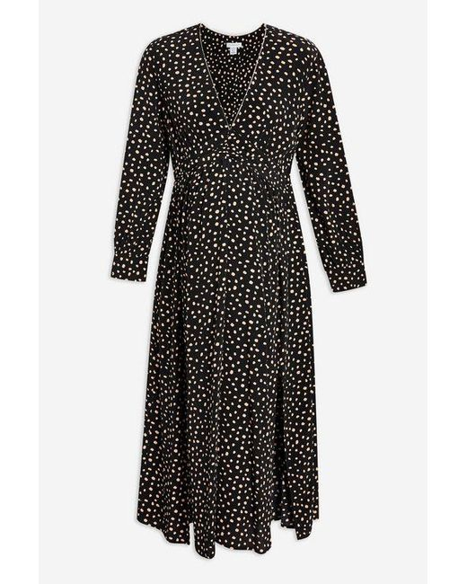 a2caa51936c ... TOPSHOP - Black maternity Ruched Midi Dress - Lyst