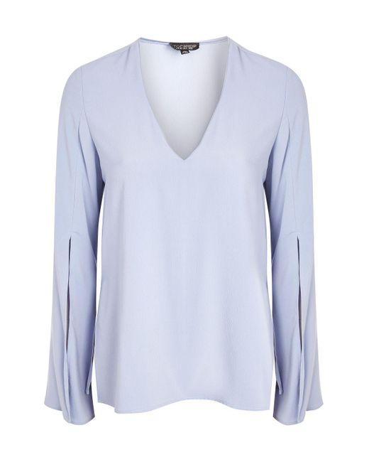 TOPSHOP | Blue V-neck Tunic Blouse | Lyst