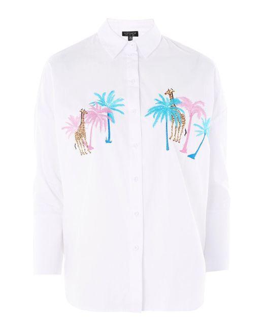 TOPSHOP | White Palm And Giraffe Print Shirt | Lyst
