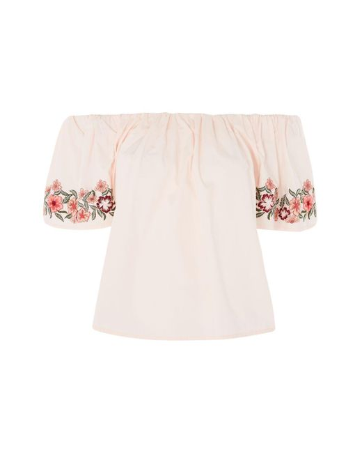 TOPSHOP | Pink Embroidered Bardot Top | Lyst