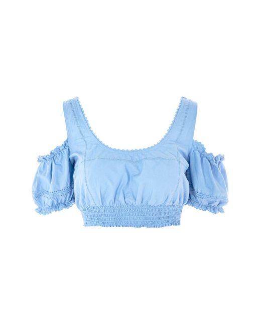 TOPSHOP | Blue Poplin Trim Gypsy Crop Top | Lyst