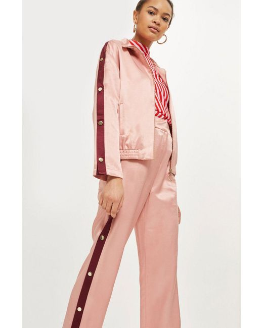 TOPSHOP - Pink Popper Side Detail Trousers - Lyst