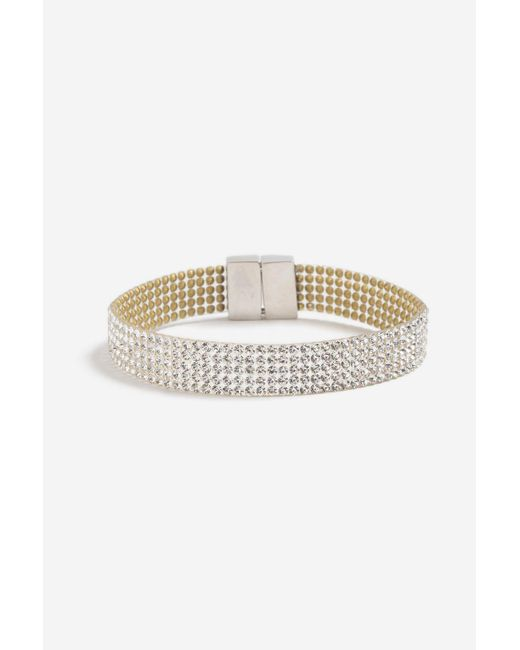 TOPSHOP - Metallic Rhinestone Crystal Bracelet - Lyst