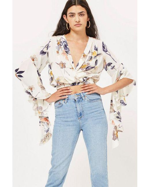 Love - White frill Sleeves V-neck Top By - Lyst