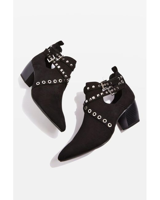 TOPSHOP | Black Kas Western Ankle Boots | Lyst