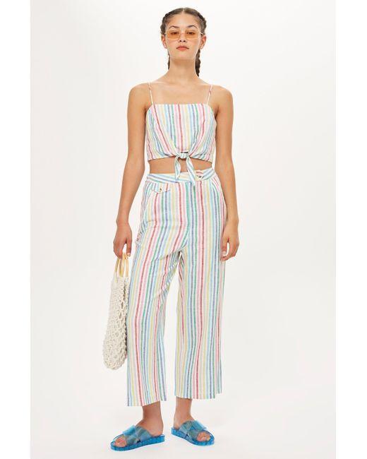 TOPSHOP - Blue Rainbow Stripe Trousers - Lyst