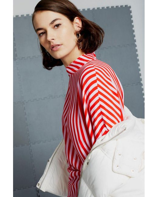 TOPSHOP - Red Stripe Tuck Top - Lyst