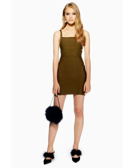 ae0402ab6d5e TOPSHOP - Green Strap Side Bandage Bodycon Dress - Lyst ...