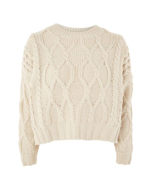 TOPSHOP | Natural Cropped Cable Knit Jumper | Lyst