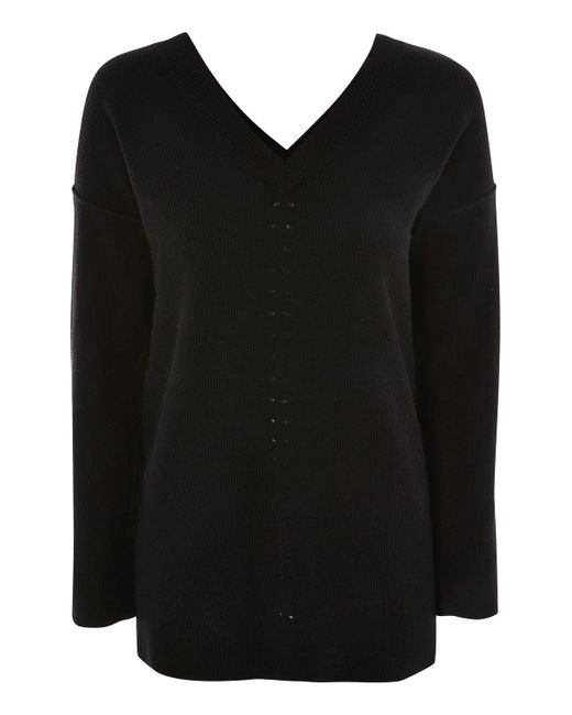 TOPSHOP | Black Knitted Pointelle Jumper | Lyst