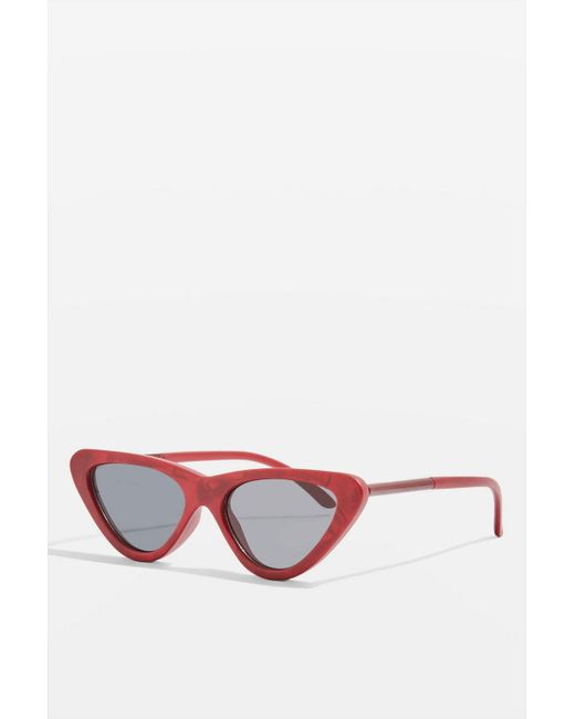 TOPSHOP - Red Point Polly Cat Eye Sunglasses - Lyst