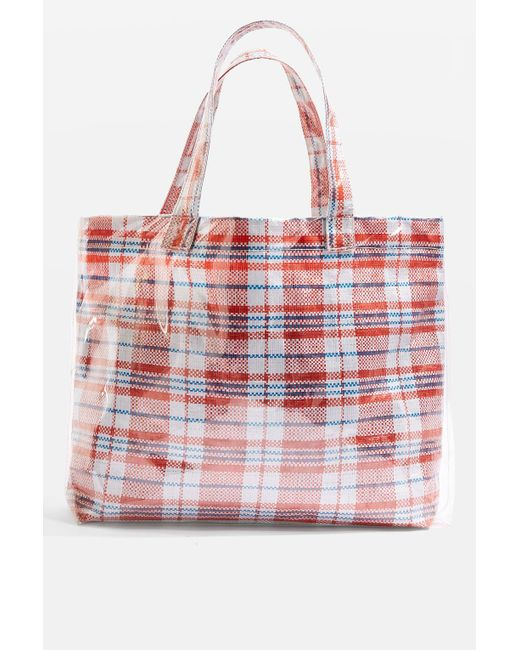 TOPSHOP | Red Marty Check Unlined Tote Bag | Lyst