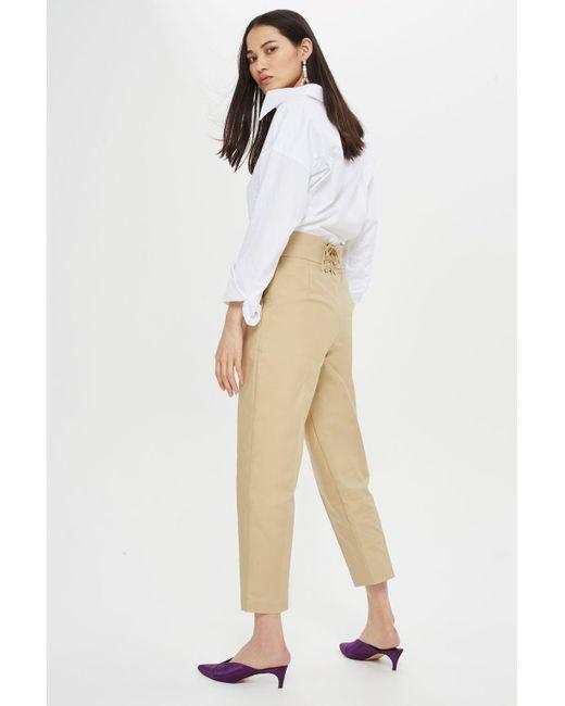 TOPSHOP - Natural Lace Back Pants - Lyst