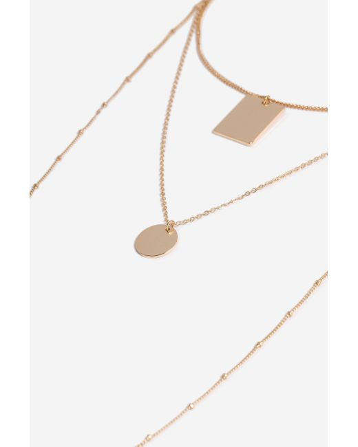 TOPSHOP - Metallic disc And Tag Multi-row Necklace - Lyst