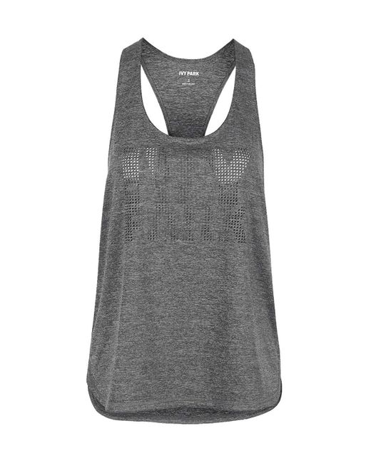 Ivy Park | Gray Laser Cut Logo Racer Tank Top By | Lyst