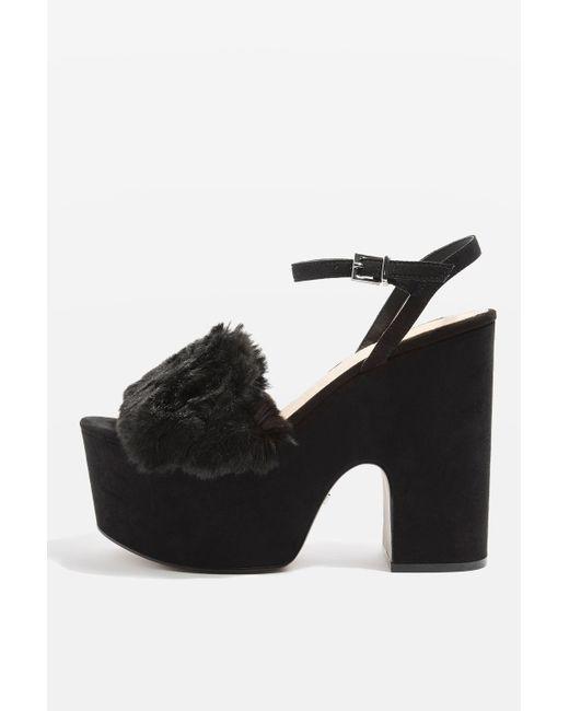 TOPSHOP   Black Lash Faux Fur Sandals   Lyst