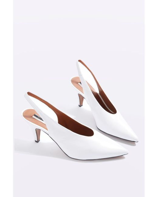 topshop jemma point mid heel court shoes in white lyst