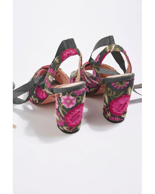 TOPSHOP | Multicolor Reena Embroidered Tie Sandals | Lyst