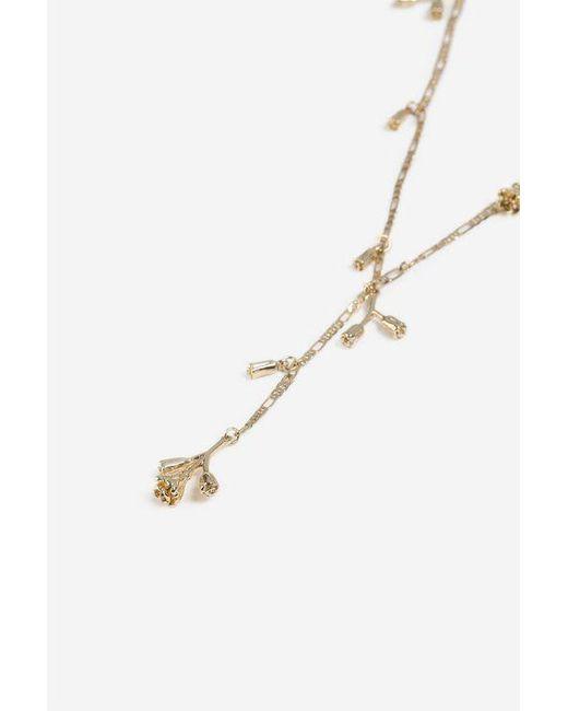 TOPSHOP - Metallic floral Drop Y-neck Necklace - Lyst