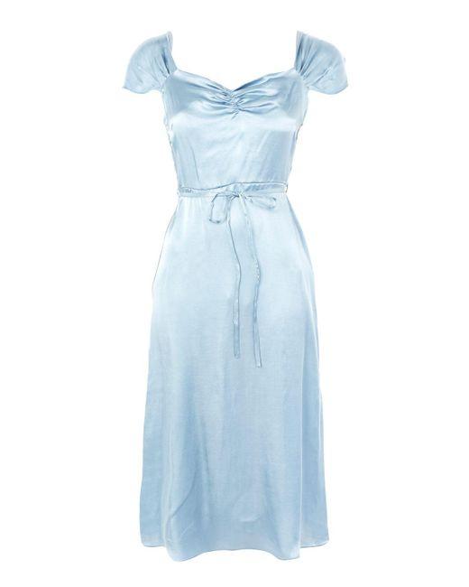 TOPSHOP | Blue Satin Midi Dress | Lyst