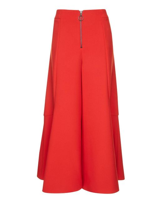 TOPSHOP   Red Frill Zip Palazzo Trousers   Lyst