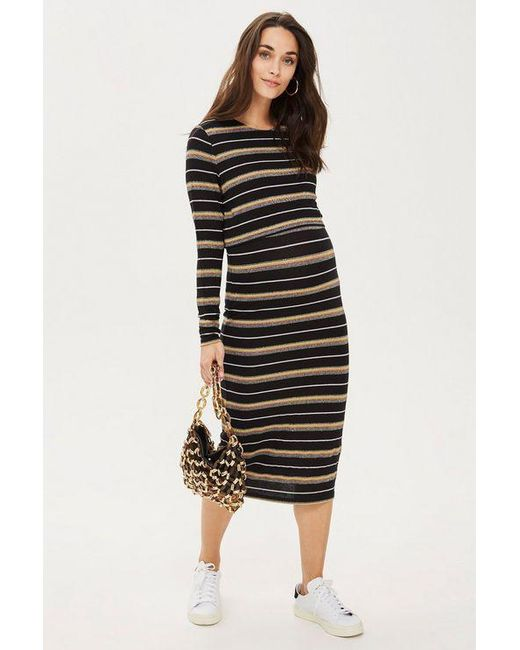 5723facf2e972 TOPSHOP - Black maternity Nursing Stripe Bodycon Dress - Lyst ...
