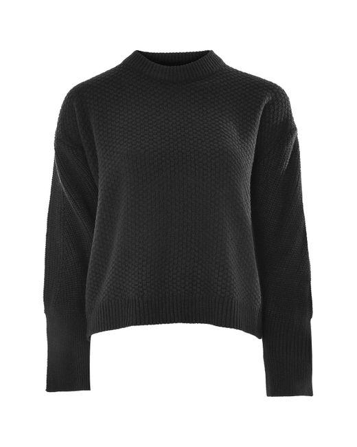 TOPSHOP | Black Moss Stitch Wide Sleeve Jumper | Lyst