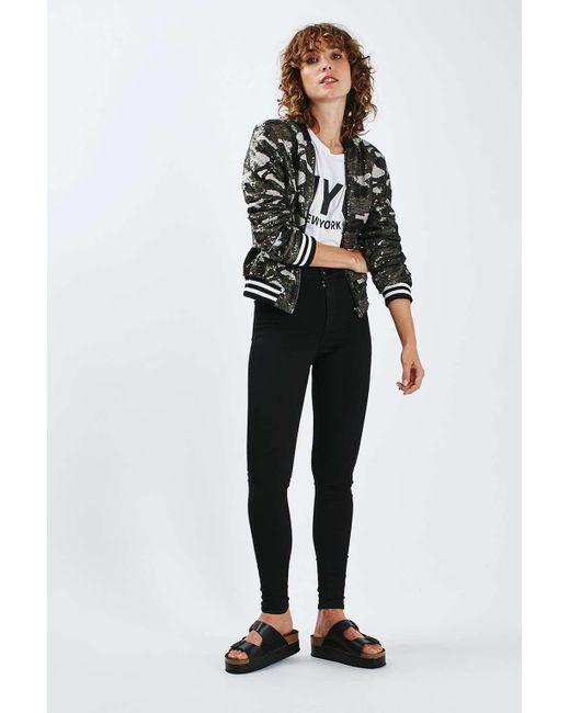 TOPSHOP | Petite Moto Black Joni Jeans | Lyst