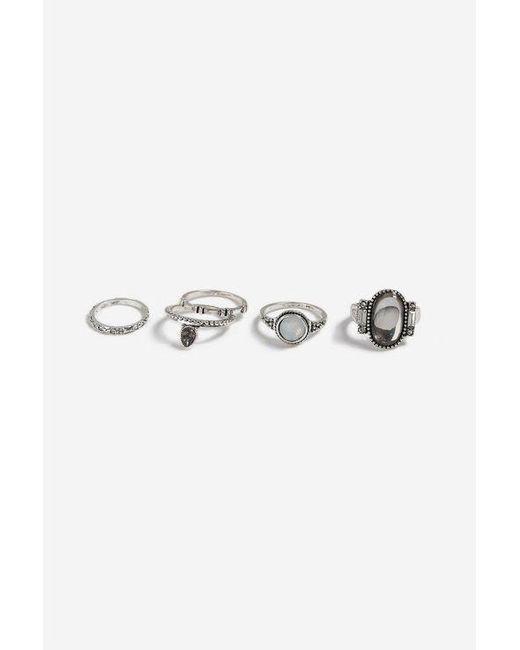TOPSHOP - Metallic mega Stone Ring Pack - Lyst