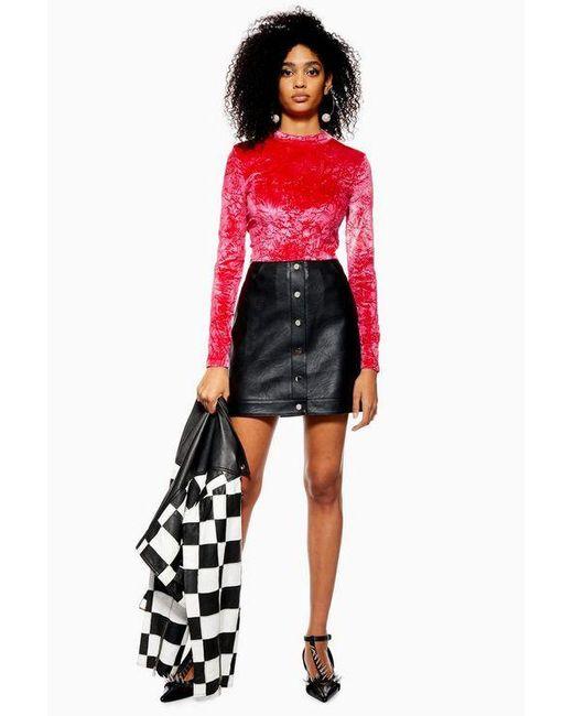 95657902c7 TOPSHOP - Black Petite Popper Pu Mini Skirt - Lyst ...