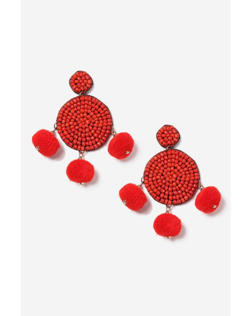 TOPSHOP | Red Pom Pom And Bead Earrings | Lyst