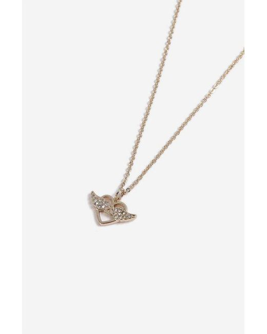 TOPSHOP - Metallic Heart Wing Ditsy Necklace - Lyst