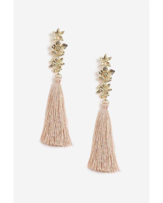 TOPSHOP - Multicolor 3 Flower Tassel Drop Earrings - Lyst
