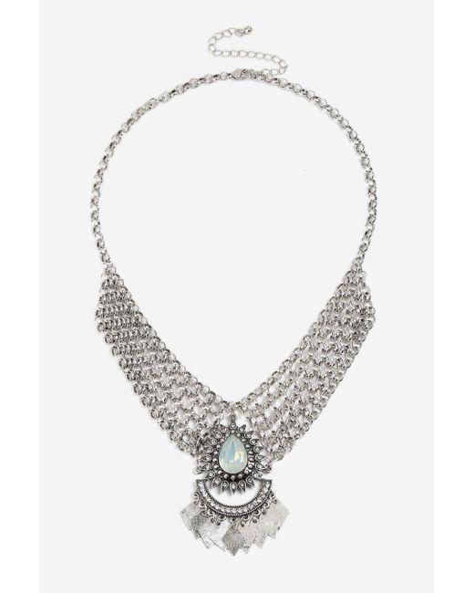 TOPSHOP | Metallic Chainmail Stone Collar | Lyst