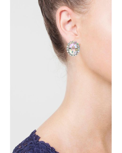 TOPSHOP | Multicolor Oval Crystal Stud Earrings | Lyst