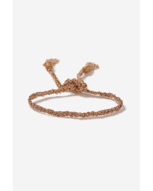 TOPSHOP | Metallic Rose Gold Look Plaited Bracelet | Lyst