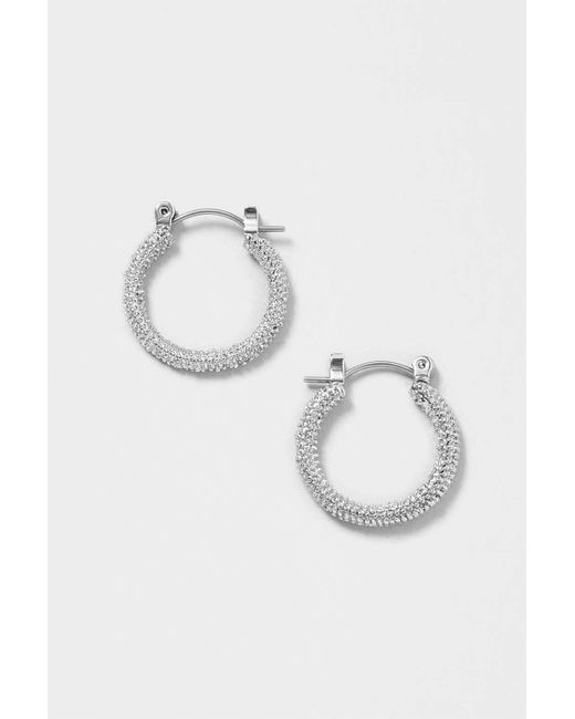 TOPSHOP | Metallic Textured Hoop Earrings | Lyst